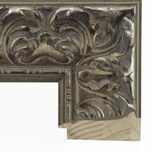 Large Distressed Silver Baroque Picture Frame